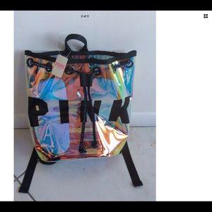 PINK Victoria's Secret Bags - Victoria's Secret pink iridescent Clear backpack
